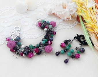 Woman beaded bracelet earring set Colorful bracelet Gem jewelry set Aventurine jewelry Tourmaline jewelry Charm bracelet  Birthday mum gift