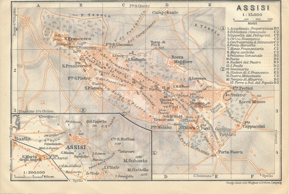 1909 Assisi Italy Antique Map