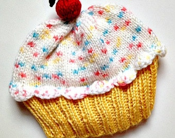 Cupcake Hat with Cherry on Top Lemon Yellow Cake Marshmallow Cream White Frosting with Sprinkles Children Baby Toddler Easter Bonnet Spring