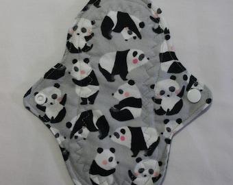 Kiki Mama Cloth Panty Liner Menstrual Pad Panda Bears on Gray