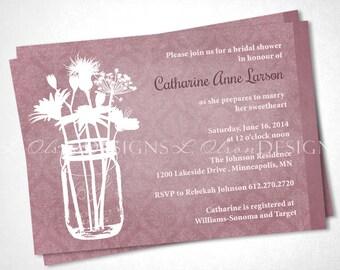 Wildflowers in Mason Jar Bridal Shower - Rose - DIY Printable