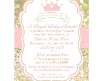 Printable girl baby shower Invitation, baby shower invite, Pink and Gold baby shower invitation, Princess party invitation, Royal shower