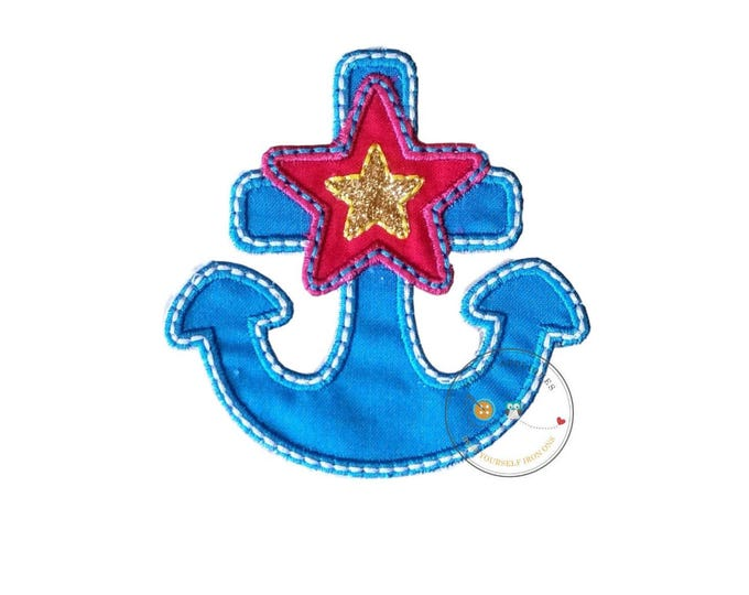 Blue, pink and gold nautical anchor iron on applique, nautical summer no sew patch ready to ship