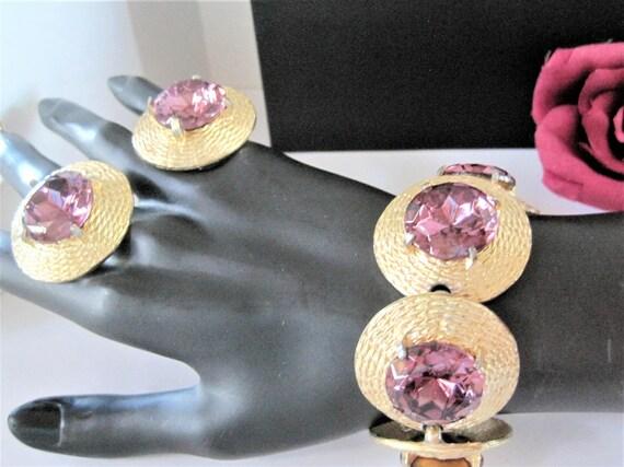 Amethyst Bracelet Earring, Purple Glass Cabochons, Large Stones, Wid