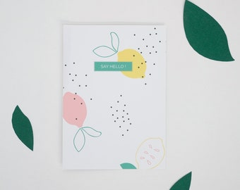 Lemons pattern Postcard - Say Hello - Stationery - Summer - Spring