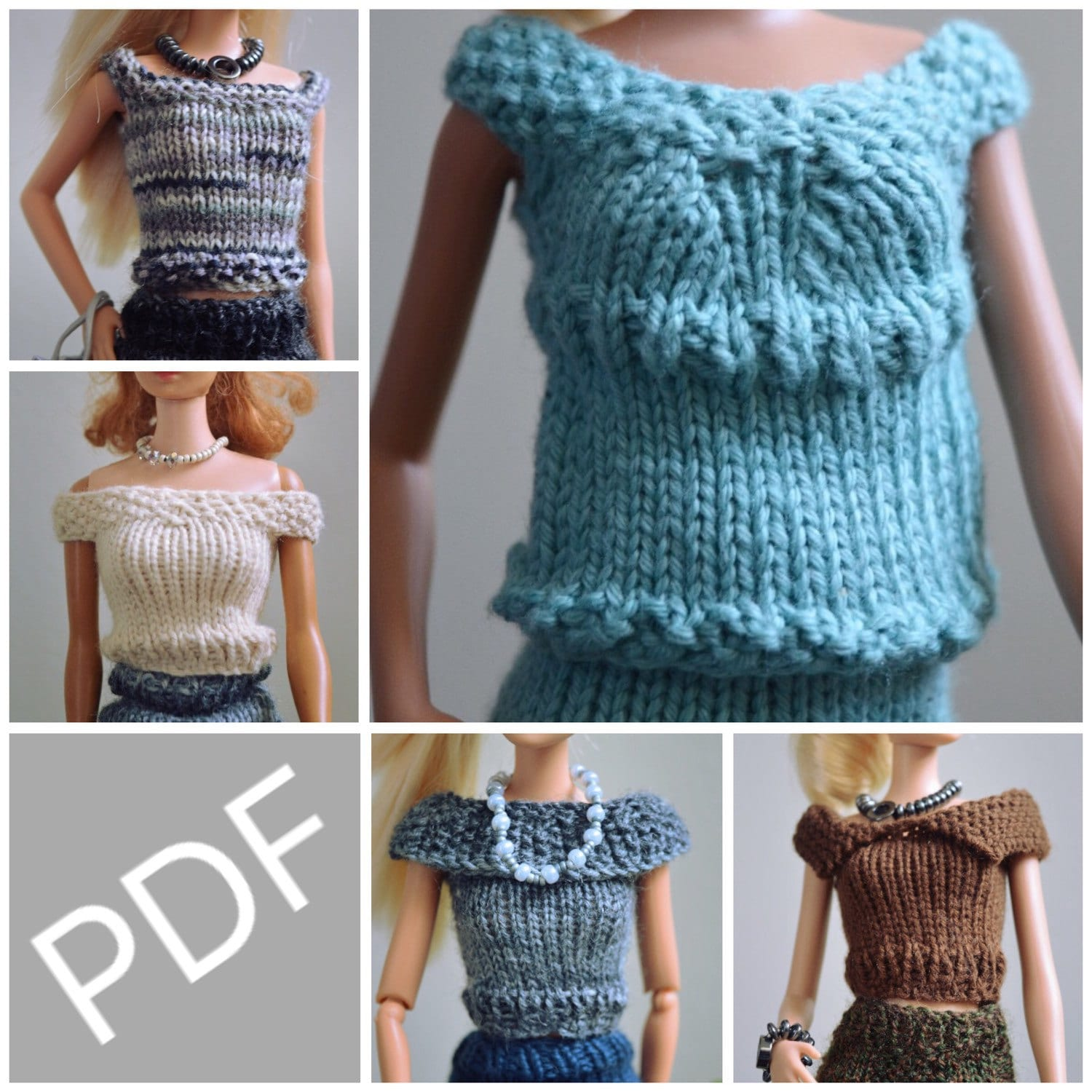 Knitting Pattern for Barbie Doll Clothes, 5 different Top pattern ...
