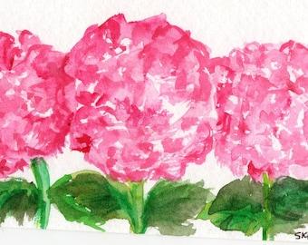 ACEO Original Pink Hydrangeas Watercolor Painting, Hydrangea Art Card hydrangea painting, miniature painting, SharonFosterArt, hydrangea art