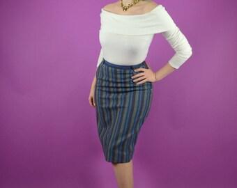 60s Secretary Blue Stripe Pencil Skirt Rockabilly Mad Men Retro // Xs Small