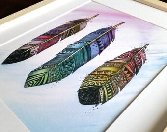 Three Feathers Watercolour Print, Zentangle, boho, tribal art, Zentangle Feathers Print, feather, three, 3, modern art, office art, feather