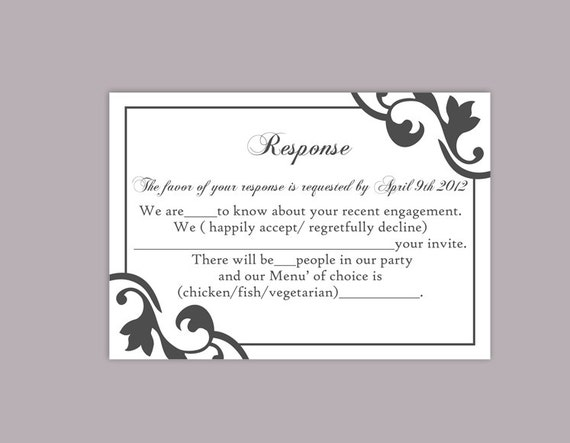 diy wedding rsvp template editable text word file instant. Black Bedroom Furniture Sets. Home Design Ideas