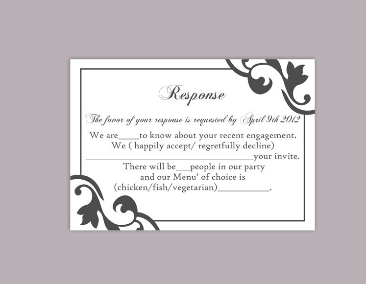 DIY Wedding RSVP Template Editable Text Word File Instant - Wedding rsvp cards template