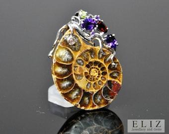 Natural Druzy Ammonite Fossil Gemstones Amethyst Garnet Peridot Tourmaline Pendant Sterling Silver
