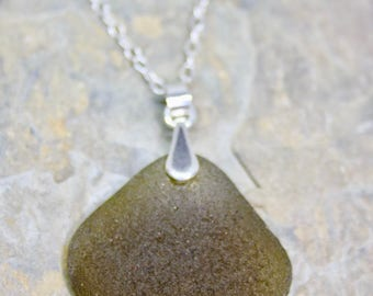 Olive green sea glass pendant, sterling silver chain, sterling silver bail, sea glass and sterling silver necklace, gift for her