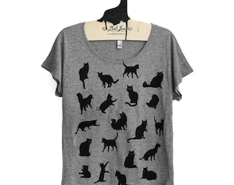 Large -  Womens Heather Gray Dolman Tee with Cat Pattern Screen Print