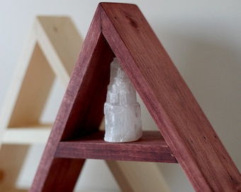 "Solid Wood Pyramid - Triangle Shelf 11""x 3"" . Different design & Color"