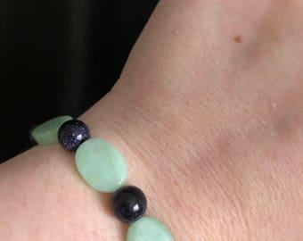 Jade & purple beaded bracelet