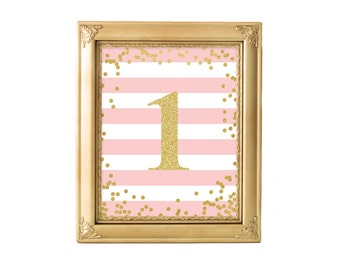 Printable Pink and Gold One Sign 8x10, Instant Download, Birthday Sign, 1st Birthday, Pink and Gold, Party Decor, SKU: AB01