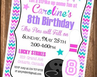 Bowling Invitation, Bowling Party Invitation,Printable Bowling Invitation, Digital Bowling Invitation, Girl Bowling Invitation