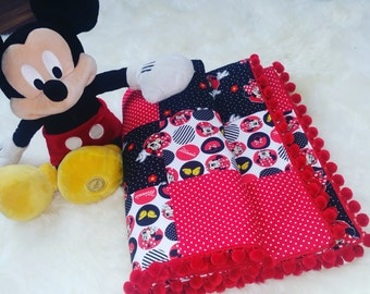 Patchwork Quilt,Mickey Mouse Quilt,Nursery Decor,Red ,Black,polka dots,Modern,Grib Quilt,Boy Quilt,Girl Quilt,Baby shower gift.