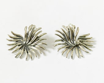 Marboux Vintage Earrings - Designer Signed Earrings - Silver Tone Modernist Abstract Mid Century