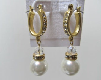 Bridal Wedding Jewelry Earrings, Pearl Dangle Gold Plated Hoops, Bride Pearl Dangles Gold Hoops Earrings