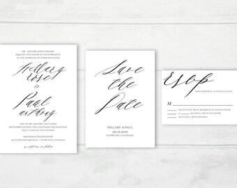 Modern Calligraphy Digital Wedding Invitation Suite