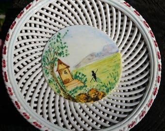 Hand Painted Italian Ceramic Basket Weave Plate