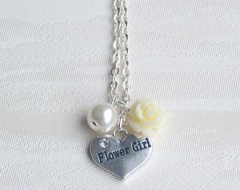 Flower girl gift Ivory rose necklace Heart necklace Pearl necklace Flower girl jewelry Rose necklace Ivory pearl necklace Beaded jewelry