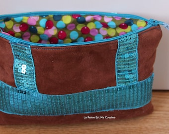 Suede pouch Brown and turquoise glitter