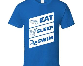 Eat Sleep Swim Funny Swimmers Sports Ocean T Shirt