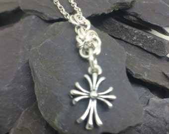 Sterling Silver Cross Necklace, Chainmaille Necklace, 925 Silver Cross Pendant, Christian Jewelry, Minimalist Jewellery Gift,