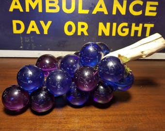 1970's Mid Century Deep Blue and Purple Lucite Grapes