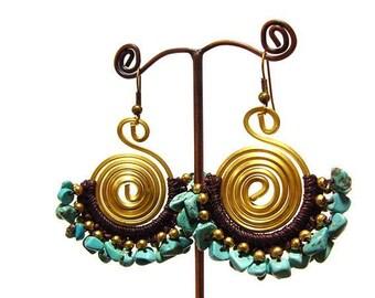 Boho Brass Handmade Earrings