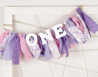 Sophia the First Birthday - Purple, Pink and White Banner for Girl's Birthday Party - Garland - Photography Prop - Shabby Chic Floral