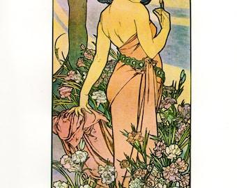 Alphonse MUCHA 1976 Authentic Vintage Art Nouveau PRINT 1897 OEILLET