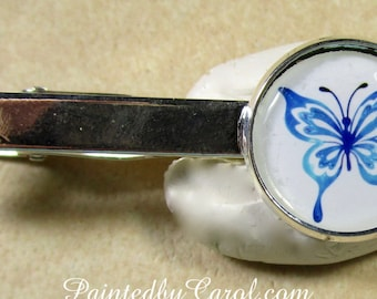 Blue Butterfly Tie Bar, Blue Butterfly Tie Tack, Blue Butterfly Tie Clip, Butterfly Pin, Blue Butterfly Gift, Colorectal Cancer Donation