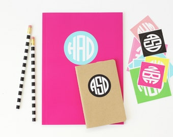 Personalized School Supplies Round Monogram Stickers  Notebook Sticker Personalized Folder Labels Kids Name Stickers Back to School Labels