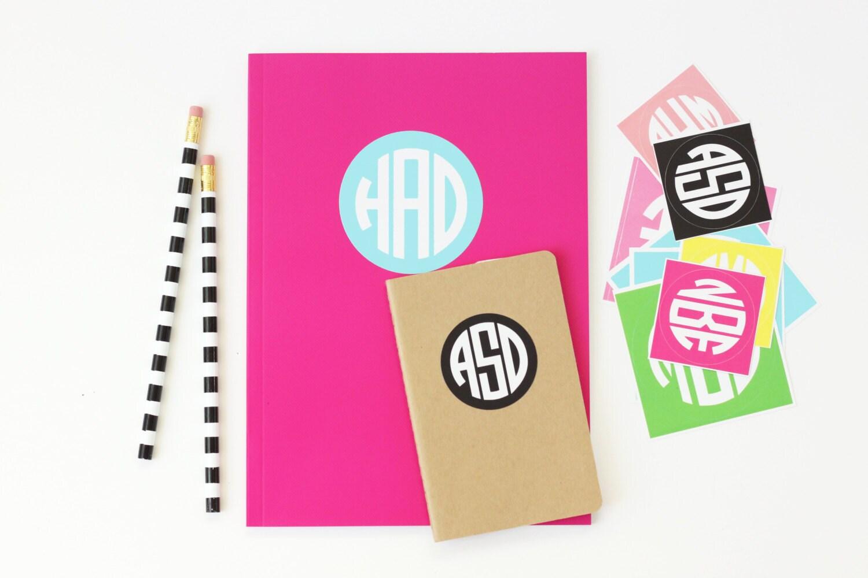 Personalized school supplies round monogram stickers notebook zoom arubaitofo Images
