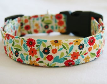Dog Collar-Calico-Red Yellow Blue Orange- Tiny Floral Adjustable Dog- Pet Collar-Small to Large Breed Dog-1 inch 1.5 -2 inch width