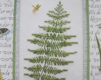 """Woodland Fern, Kit for counted cross stitch, includes dragonfly charm and decorative mat, fits 8"""" X 10"""" frame, Nature Collection #115559"""