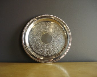 Vintage Silver Tray - Small Round Platter or Serving Tray - Silverplate Drink Tray - Wm Rogers