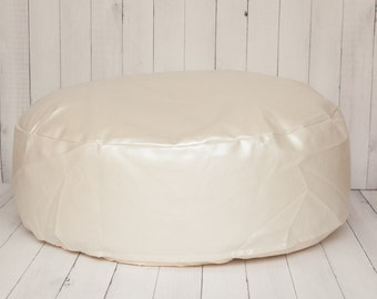 Travel Size Faux Leather Newborn Posing Bean Bag - Infant Poser Pillow -Photo Prop Ready To Ship (unfilled) power shapable - handle