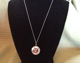Vintage SPEIDEL Sterling SIlver Necklace and November Gemstone Pendant, Length 18''