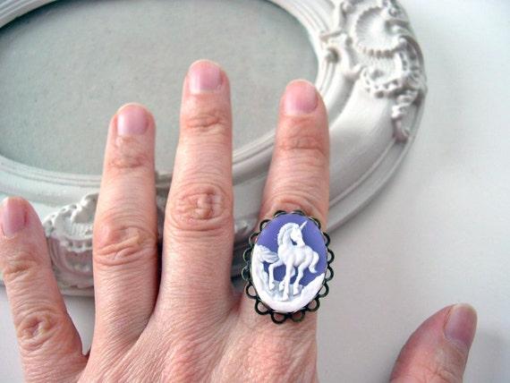 Unicorn ring in purple cameo ring fairy kei lolita