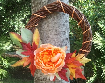 Fall colors wreath, gift idea for fall lovers, made in Italy housewarming gift, warm colors maple leaves orange peony wreath, autumn decor