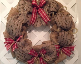 Country Christmas Wreath - Victorian Christmas Wreath - Merry Christmas Decor - Country Christmas - Cottage Christmas - Christmas Wreath