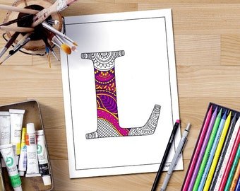 Alphabet Coloring Pages Download : Zentangle alphabet a digital coloring page letter a adult