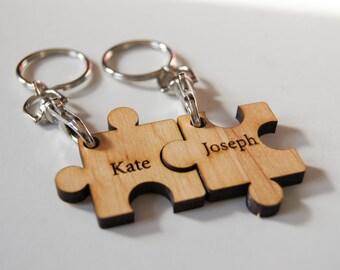 Personalized Wood Keychains, Customized Keychains, Puzzle shape Keychains, Engraved Keychains, Best friends Keychains