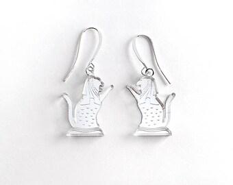 Meowlion earrings - gold and silver mirror acrylic laser cut earrings
