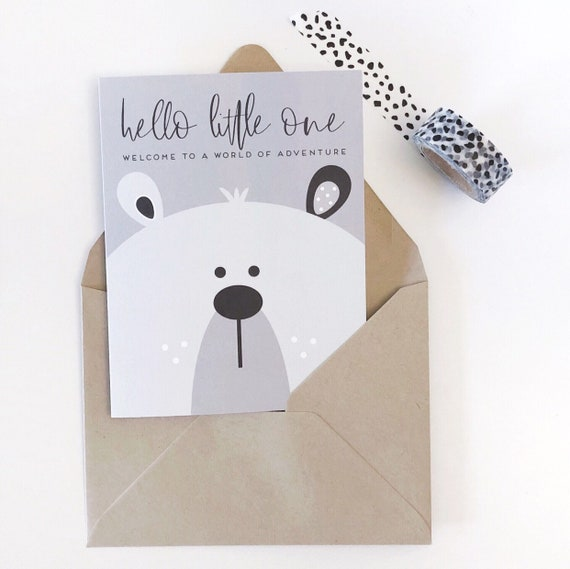 Welcome To  A World Of Adventure - Bear Baby Shower/Expecting Card